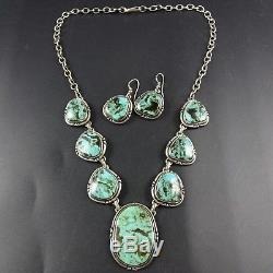 Vintage KEWA Sterling Silver BLUE DIAMOND TURQUOISE Necklace and Earrings SET