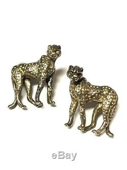 Vintage Kabana Sterling Silver Leopard Panther Earrings Rare