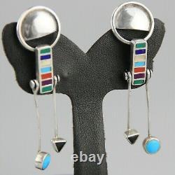 Vintage Kinetic Inlay Earrings Avant Garde Modernist Sterling Silver Turquoise