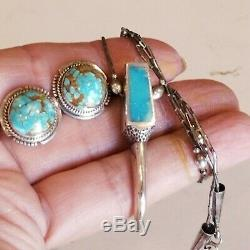 Vintage LL Zuni Sterling Silver 925 Turquoise Earrings & Turquoise Necklace