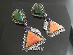Vintage La Rose Ganadonegro Navajo Sterling Shell Turquoise Lapis Earrings