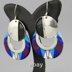 Vintage Lapis Inlay Native Ameircan Southwest Sterling Silver Earrings Sugilite