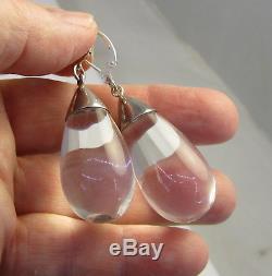 Vintage Large Modernist Sterling Silver Clear Teardrop Lucite Pierced Earrings