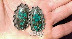 Vintage Large Navajo Blue Green Spiderweb Turquoise Sterling Silver Earrings