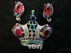 Vintage Large Sterling Trifari Crown Brooch Pin Matching Earrings Ruby Tone Ca