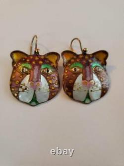 Vintage Laurel Burch Enamel Sterling Cat Earrings