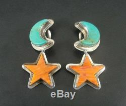 Vintage Lg Chunky Turquoise Spiny Oyster Moon Sun Sterling Silver Clip Earrings