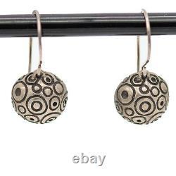 Vintage Lisa Jenks Sterling Silver 925 Modernist Tattoo Circle Earrings