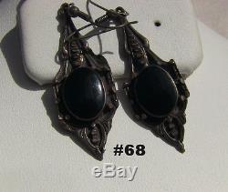 Vintage Long Sterling Silver & Black Onyx Wire Earrings
