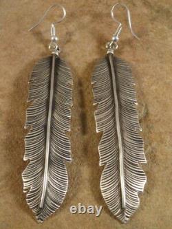 Vintage Long Sterling Silver Feather Earrings