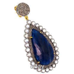 Vintage Look 14k Gold Pave Diamond Sterling Silver Sapphire Dangle Drop Earrings