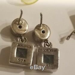 Vintage Lori Bonn Sterling Silver 925 Amethyst Blue Topaz Earrings 925 Bracelet