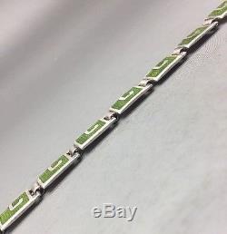 Vintage MARCOT DE TAXCO Sterling Silver & Green Enamel Necklace & Earrings 5403