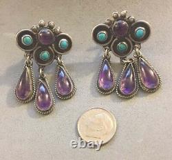 Vintage MATL SALAS Signed Turquoise Amethyst Drop Dangle Post Sterling Earrings