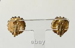 Vintage MMA Gilt Sterling Silver & Gemstone Byzantine Style Clip On Earrings