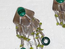 Vintage Malachite Peridot Sterling 925 Silver Dangling Huge Earrings 48 grams