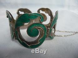 Vintage Margot De Taxco Mexican Sterling Silver & Enamel Bracelet & Earrings