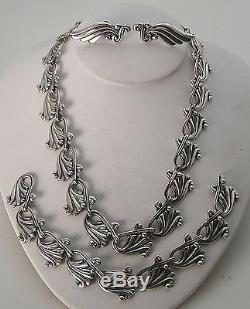 Vintage Margot De Taxco Mexico Sterling Repousse Necklace, Bracelet & Earrings