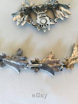 Vintage Margot De Taxco Sterling Enamel Bluebell Necklace Brooch And Earrings