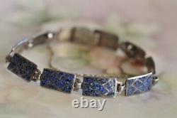 Vintage Margot de Taxco Sterling Silver Enamel Geometric Bracelet Earrings set