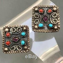 Vintage Marked Mexican Sterling Silver Amethyst Turquoise Coral Clip On Earrings