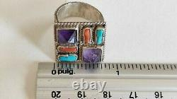 Vintage Matl Ms-12 Sterling Silver 925 México (earrings And Ring) Amethyst