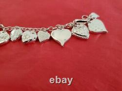 Vintage Mauritus Sterling Silver Puffy Heart Charm Bracelet With Earrings