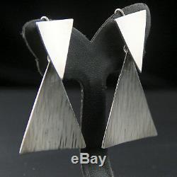 Vintage Mexcian Sterling Silver Avant Garde Modernist Statement Earrings Taxco