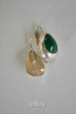 Vintage Mexican Malachite Sterling Silver Tear Drop Earrings