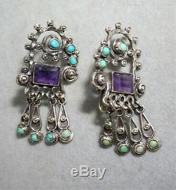 Vintage Mexican Matl Style Sterling Silver Earrings Turquoise Amethyst
