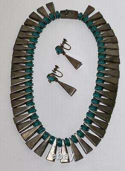 Vintage Mexican Necklace Earrings Set Sterling Silver Turquoise Link