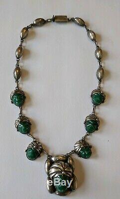 Vintage Mexican Sterling Carved Jade Aztec Mask Necklace Bracelet & Earrings Set