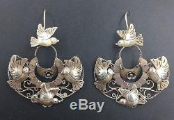 Vintage Mexican Sterling Silver Bird Frida Romantic Whimsical Earrings