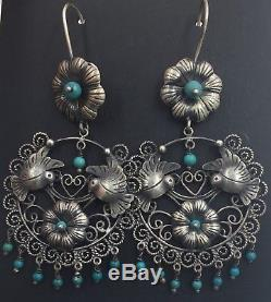 Vintage Mexican Sterling Silver Birds Flower Turquoise Romantic Frida Earrings