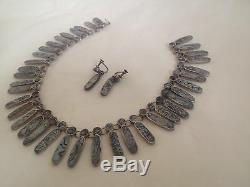 Vintage Mexican Sterling Silver Inlaid Abalone Shell Bib Necklace Earring Set
