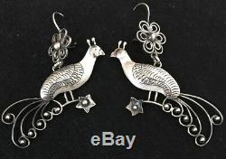Vintage Mexican Sterling Silver LARGE Bird Peacock Frida Earrings