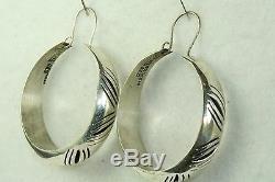 Vintage Mexican Sterling Silver Shadowbox Hoop Earrings
