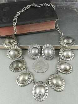 Vintage Mexico 925 Sterling Silver Domed Oval Disk Necklace / Earrings Set