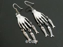Vintage Mexico Hand Milagros & Fish Drop Dangle Sterling Silver 925 Earring