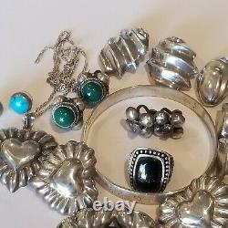 Vintage Mexico Sterling 925 8 Earrings Onyx Jade 2 Brooch Bracelet Ring Necklace