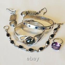 Vintage Mexico Sterling 925 Fish Earrings Amethyst Ring Lapis 2 Bracelets Lot
