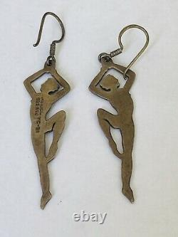 Vintage Mexico Taxco AJC Sterling Silver Modernist Figurine Dangle Earrings