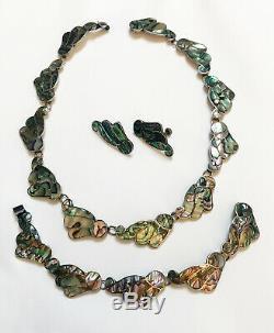 Vintage Mexico Taxco Martinez Sterling Abalone Necklace Bracelet Earrings Set