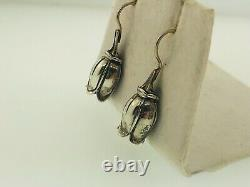 Vintage Mignon Faget 14K Yellow Gold Sterling Silver Tulip Dangle Earrings