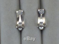 Vintage Mikimoto 5 Five Pearl 950 Sterling Silver Clip Half Hoop Earrings Signed