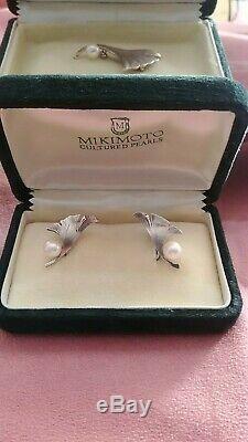 Vintage Mikimoto 6.3 mm Pearl Earrings & Brooch Sterling silver in original box