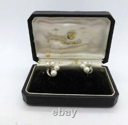 Vintage Mikimoto Pearl Sterling Silver Screwback Earrings, with box