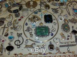 Vintage Modern Sterling Silver Jewelry Lot 1626 grams Rings Pins Earrings + EUC