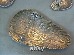 Vintage Modernist Artist Warsaw Poland 925 Sterling Silver Brooch & Earring Set
