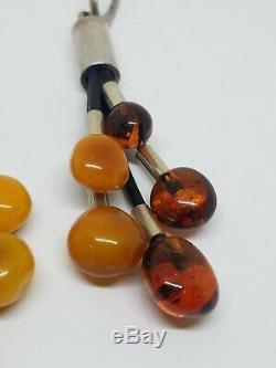 Vintage Modernist Sterling Silver Honey & Egg Yolk Amber Beads Dangle Earrings